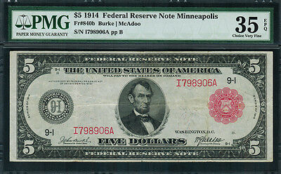1914 $5 Federal Reserve Note Minneapolis FR-840b - RED SEAL - Graded PMG 35 EPQ