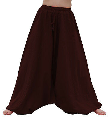 Elastic Pullstring Waist and Ankles Light Cotton Aladdin Mao Pants Seal Brown M