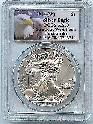 2014 W Silver American Eagle Dollar MS70 PCGS 1st Strike Coin West Point C39
