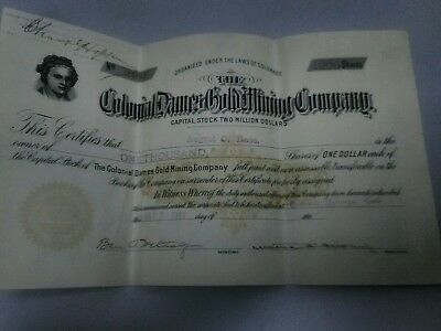 Colonial Dames Gold Mining Co Stock Certificate Cripple Creek Colorado
