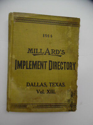 1914 Millard's Implement Directory Vol. XIII Dallas Texas Tractors Deere More