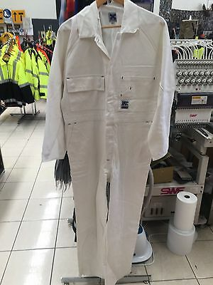 Mens Cotton Drill Coverall Painter Work White 107R 107S 112S