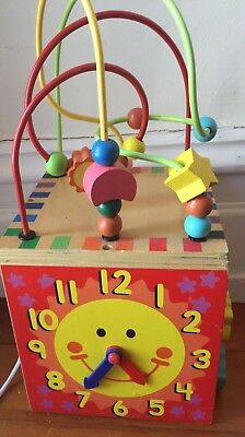 Wooden Toy Activity Cube Baby Toddler Secondhand EUC