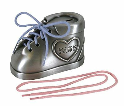 Stephan Baby Keepsake Pewter Shoe Bank Pink/Blue Laces, New