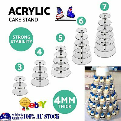 3/4/5/6/7 Tier Acrylic Round Cake Cupcake Stand Tree Tower Plate Wedding Party R