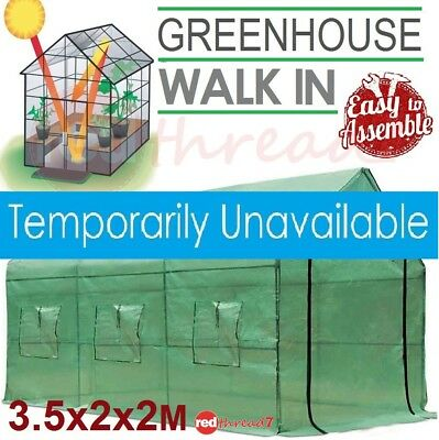 Greenhouse 3.5X2X2M Walk In Garden Plant Shed PE Mesh Green Cover Hot House Apex