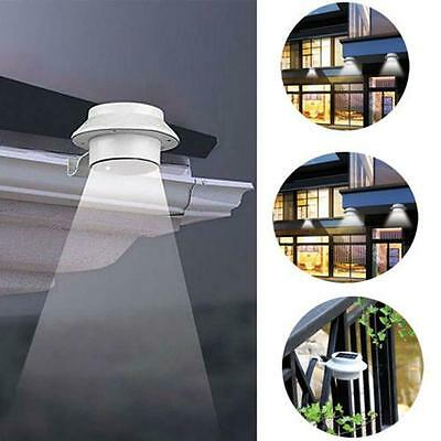 Solar Powered 3 LED Outdoor Lights Lamp Fence Gutter Roof Yard Wall Garden PXc