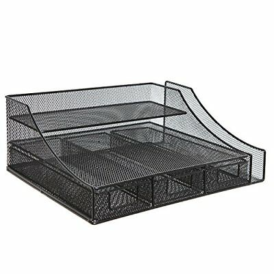 Black Wire Mesh Metal Office Desktop Organizer Document Tray File Storage with 3