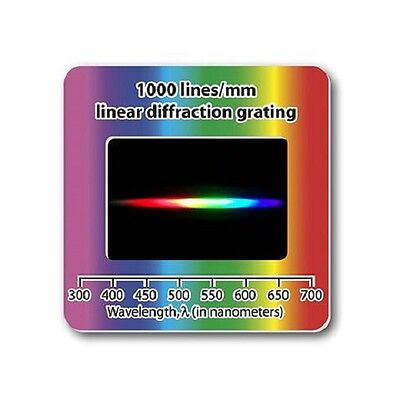 Holographic Diffraction Grating Slide Linear 1000 lines/mm Laser Spectrum Lamp