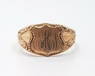 Vintage Victorian Gold Filled Initial Signet Mens Ring Size 11