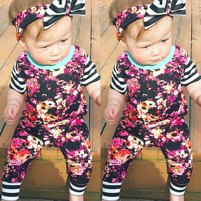 US Newborn Infant Baby Girls Clothes Romper Bodysuit+Headband Outfit Clothes Set