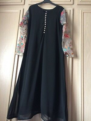 ladies Girls New Black Dress Net Material eid party asian clothes size Large 14
