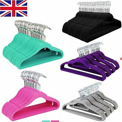 40 Pcs Multiple Color Non-slip Flocked Velvet Hanger Coat Clothes Trouser Hanger