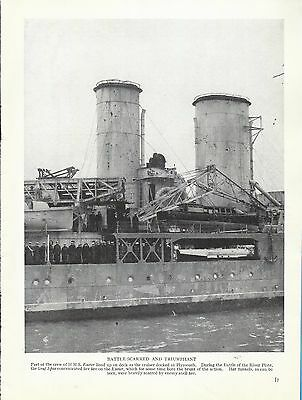 Vintage Military Print  H.M.S.EXETER AT PLYMOUTH AFTER BATTLE OF THE RIVER PLATE