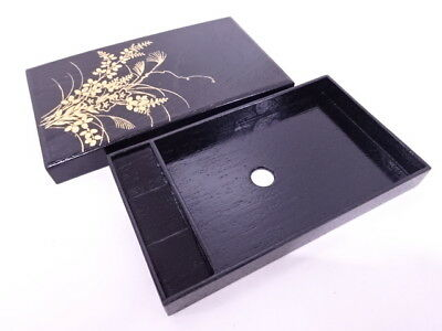 18515# Japanese Lacquered Box / Post Card Case / Makie / Autumn Plant