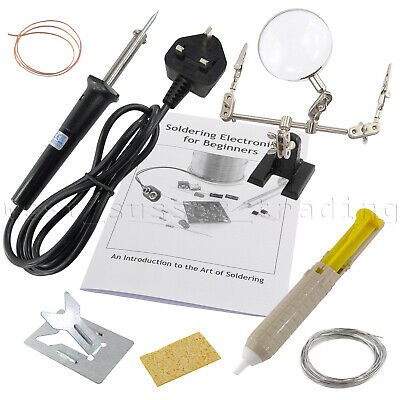Soldering Iron Kit Stand Solder Desolder & Helping Hands Magnifier Ideal Starter