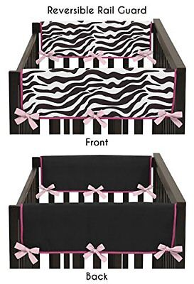 Pink and Zebra Print Teething Protector Cover Wrap Baby Crib Side Rail Guards Se