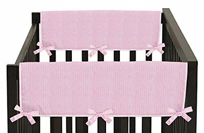 Pink Chenille and Satin Teething Protector Cover Wrap Baby Crib Side Rail Guards