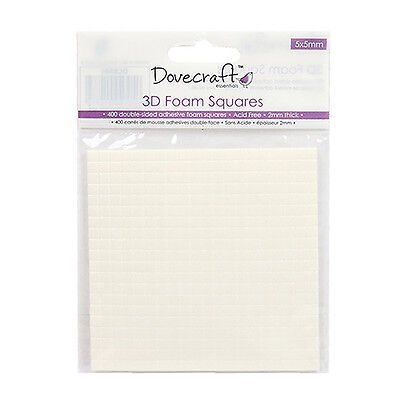 Dovecraft 2mm Thick 5mm 3D Foam Squares x 400 Double Sided Craft