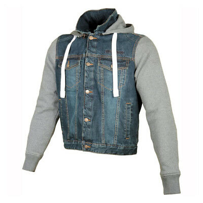 Booster Denim Hoodie With Kelvar Shoulder Elbow and Back Protection Casual Blue