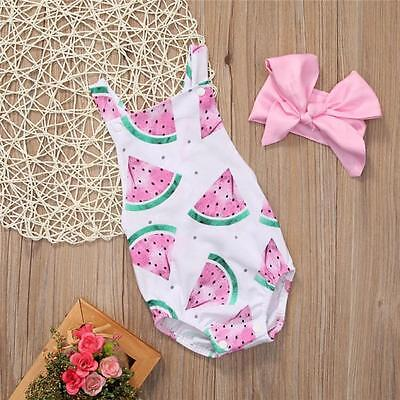 Watermelon Infant Baby Boy Girl Backless Bodysuit Romper+Hairpin Outfit Clothes