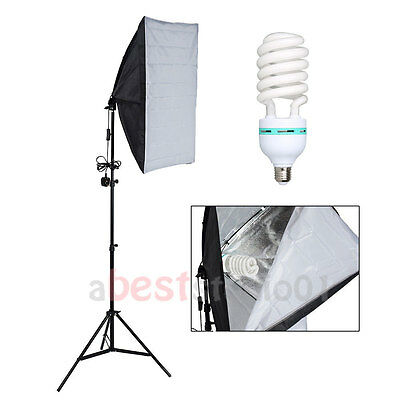Photography Studio 135W Soft Box Continuous Lighting Softbox Light Stand Kit UK