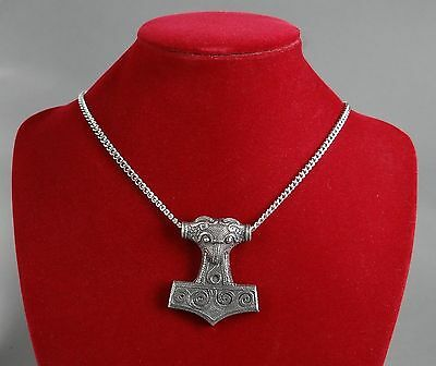 Large Viking Thor's Hammer Pendant on Chain in Fine Pewter