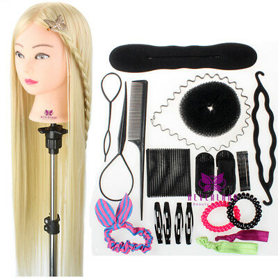 "30"" Training Head Mannequin Salon Hairdressing Doll & Braid Tools Set + Clamp AU"