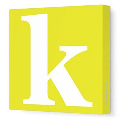 Avalisa Stretched Canvas Lower Letter K Nursery Wall Art Yellow 28in x 28in, New