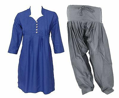 COMBO PACK Indian Ethnic Pleated Cotton Women's Kurti with Wood Button & Patiala