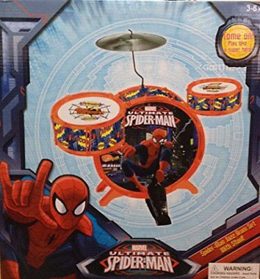 Marvel Ultimate Spider-Man Jazz Drum Set with Stool Baby Musical Toys, New