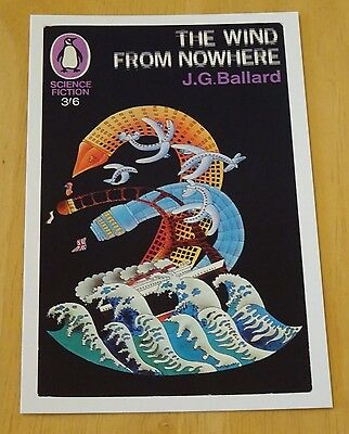 Penguin Sci-Fi Book Cover Postcard ~ 'the Wind From Nowhere' J.g.ballard 1967