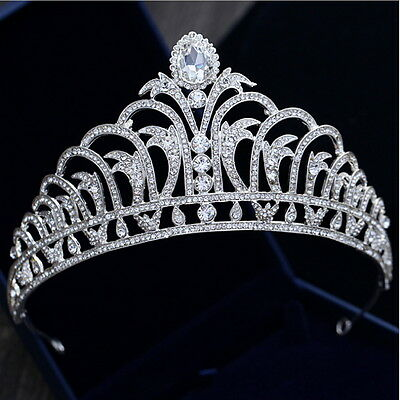 8cm High Leaf Drip Crystal Beads Large Crown Tiara Wedding Prom Party Pageant