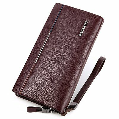 BOSTANTEN Mens Business Leather Handbag Clutch Checkbook Wallet with Wristlet