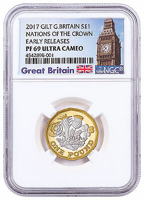 2017 G Britain Nations of Crown Silver Gilt PF £1 Coin NGC PF69 UC ER SKU47055