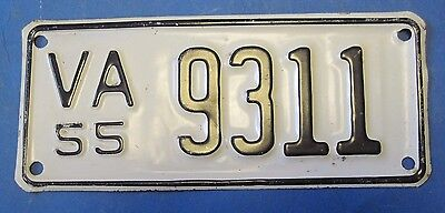 1955 Virginia Motorcycle  License Plate never used
