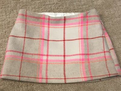 Gap Kids Girls Size 6 Plaid Mini Skirt Tartan Wool Blend Fuchsia Pink