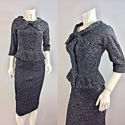 Vintage 1950s Black Cinched Waist Peplum Skirt Suit Work Dress 36 bust 27 waist