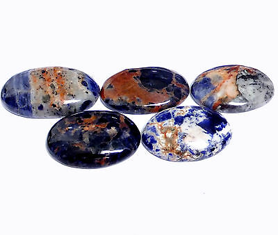 NATURAL MULTICOLOUR SODALITE LOOSE GEMSTONE (5pcs / 126cts) LARGE OVAL CABOCHON
