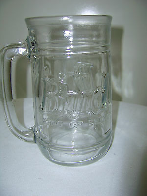 "King Of Beers Bud Raised Glass Logo Glass Beer Mug Vintage 5.5"" tall"