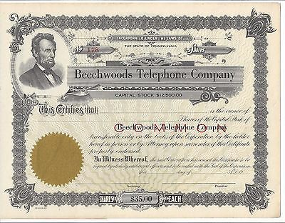 Beechwoods Telephone Company (Pa)........unissued Common Stock Certificate