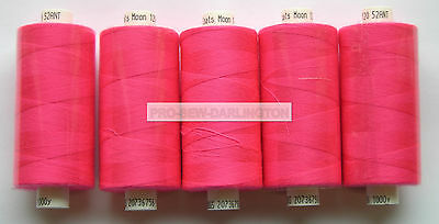 5 REELS NEON PINK MOON POLYESTER SEWING THREAD COTTON 120s