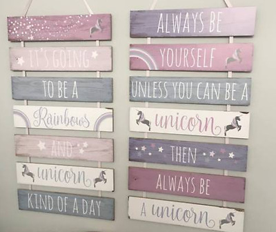 Large Girls Wooden Bedroom Wall Plaque Tiered Unicorn Pink/ Purple Sign 69cm