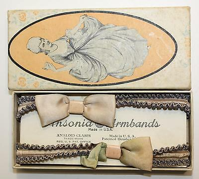 Genuine 1922 Ansonia Armbands Sleeve Garters Roaring 20s w Lady Box