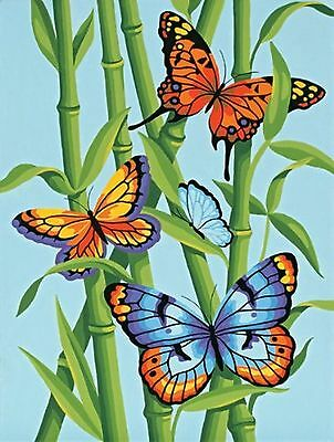 Butterflies & Bamboo Paint by Numbers kit with Paintbrush & 8 Pots of Paint
