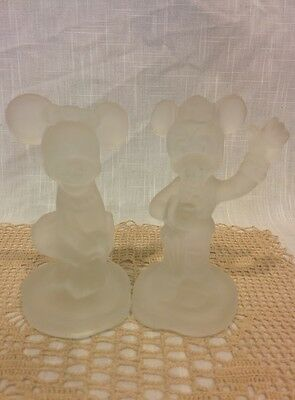 Vintage Walt Disney Mickey and Minnie Mouse pair frosted glass figure figurines