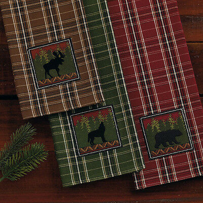 WOODLAND Embroidered Dish Towel, 100% Cotton Choose Moose, Wolf, or Bear, by DII