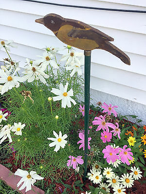 Antique 1920's Bird Garden Stake Wooden Joseph H. Dodson Inc Folk Art Painted