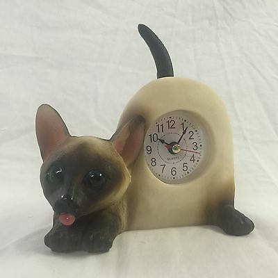 BACK TO SCHOOL Critter Clock Siamese Cat Tabletop Wagging Tail Kitten Kitty