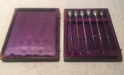 Antique Set 6 American Sterling Silver Ball Finial Nut Picks Boxed